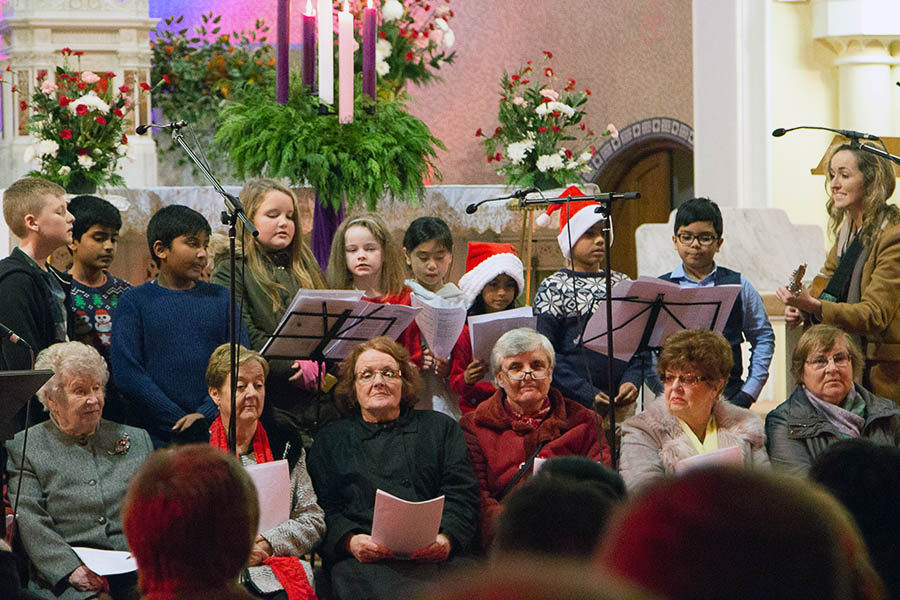 Christmas Carols in St Canices 2018 with senior choir, children's choir and the choir from St Canices Church of Ireland
