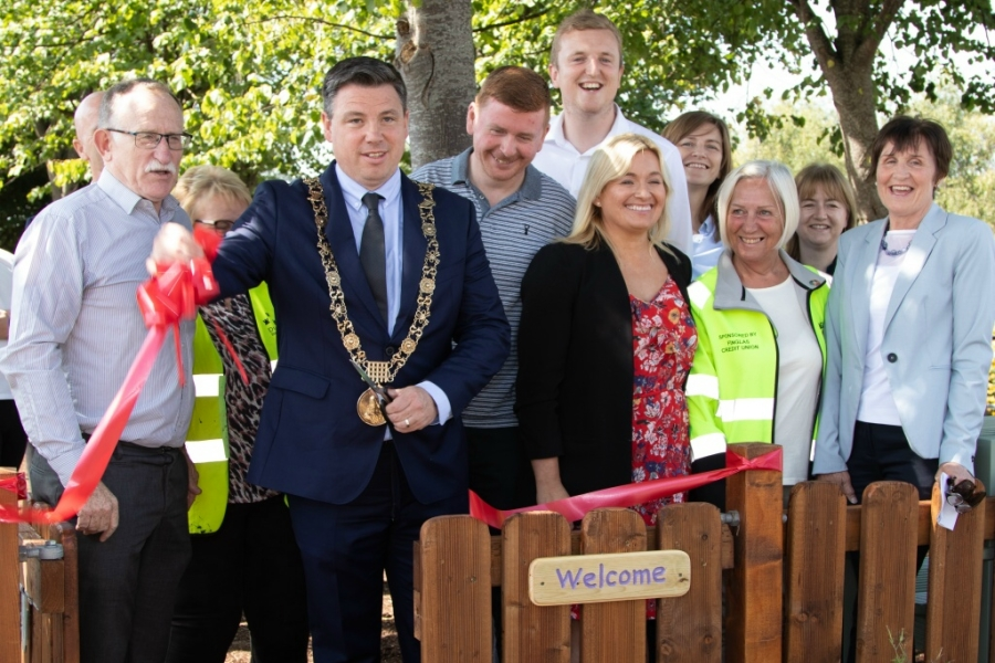 Lord Mayor Paul McAuliffe and invited guests cut the ribbon to open the new garden